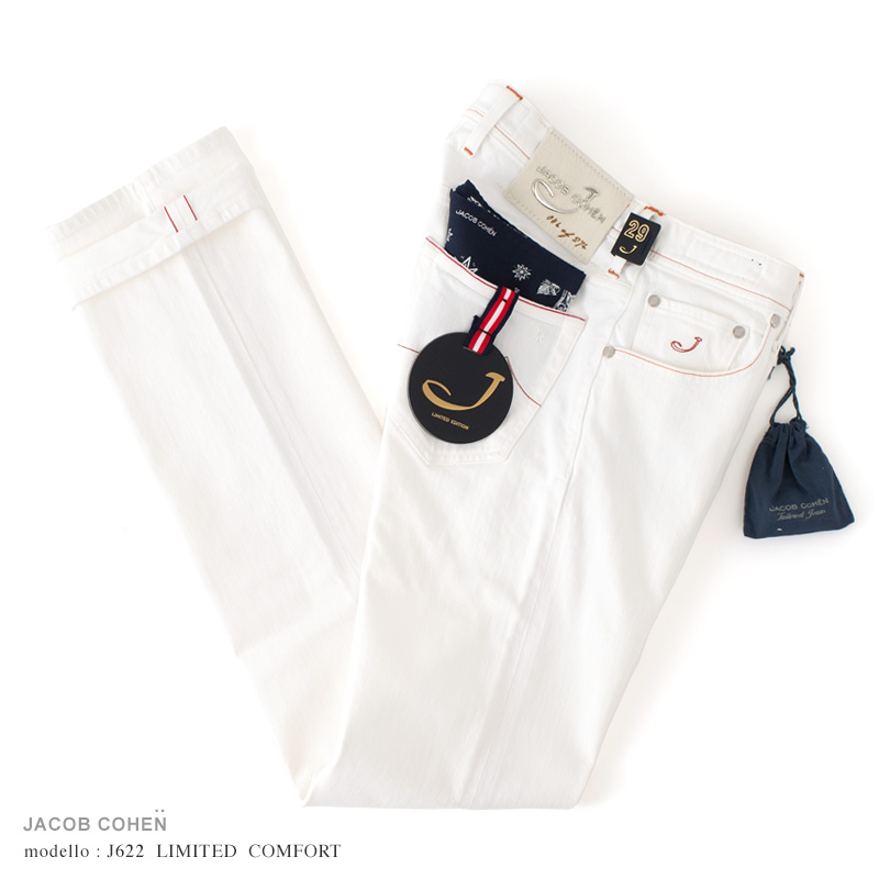JACOB COHEN【ヤコブコーエン】J622 LIMITED OLD COMFORT ホワイトジーンズ ・art. 01226RO-100 (ピュアホワイト / ストレッチ / セルヴィッチ) ・leather patch. アイボリーハラコ ・リミテッドシリーズ 【国内正規品】