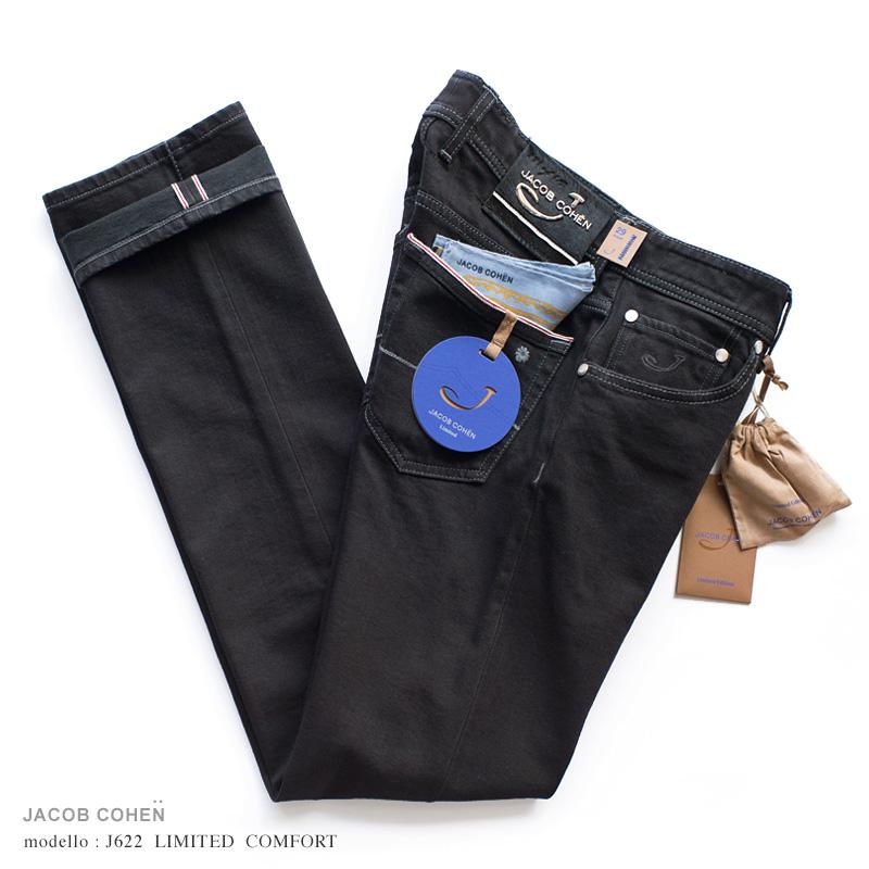 【 SALE30 】JACOB COHEN【ヤコブコーエン】J622 LIMITED COMFORT ブラックジーンズ ・art. 01188-001 (マットブラック / ストレッチ / セルヴィッチ) ・leather patch. ブラックハラコ ・リミテッドシリーズ ・イタリア製 【国内正規品】