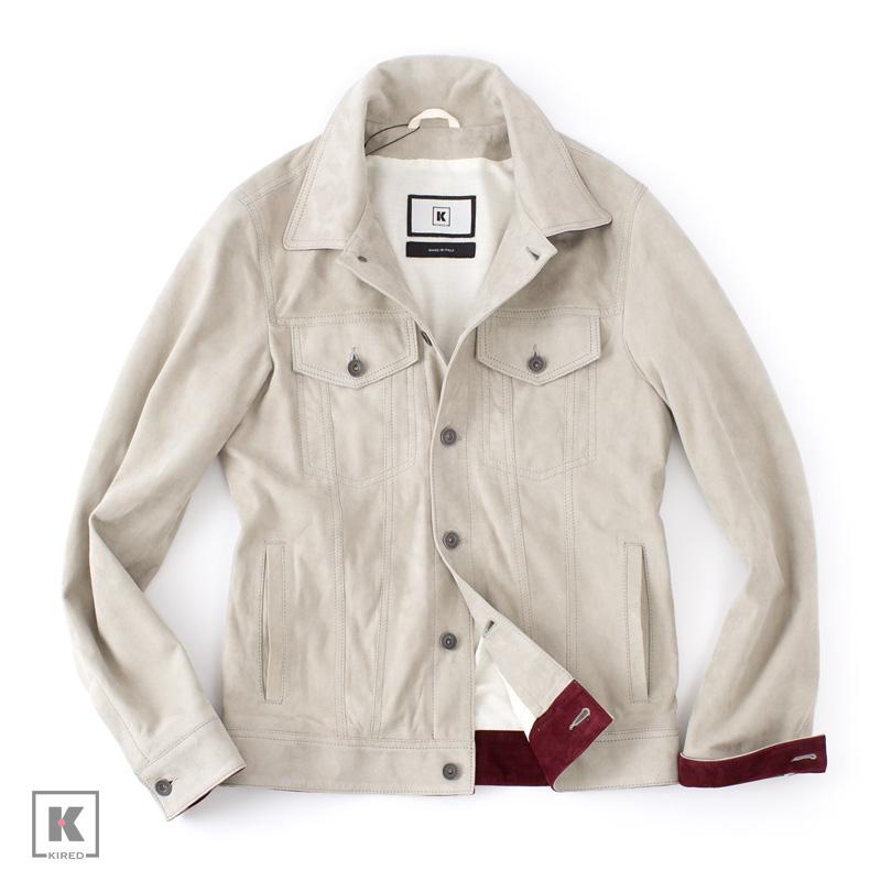 【 SALE50 】KIRED 【キーレッド】 ラムスエード レザージージャン ・mod. PRUA ・art. 71500 ・col. light gray (ライトグレー) ・made in Italy ・春夏 ・国内正規品
