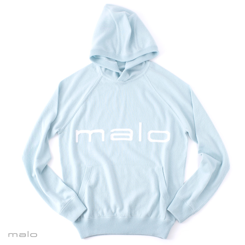 【 SALE30 】 malo 【マーロ】 カシミヤ ロゴパーカー ・art. UXA024 ・col. malo blue (マーロブルー) ・made in Italy イタリア製 【秋冬】 【国内正規品】