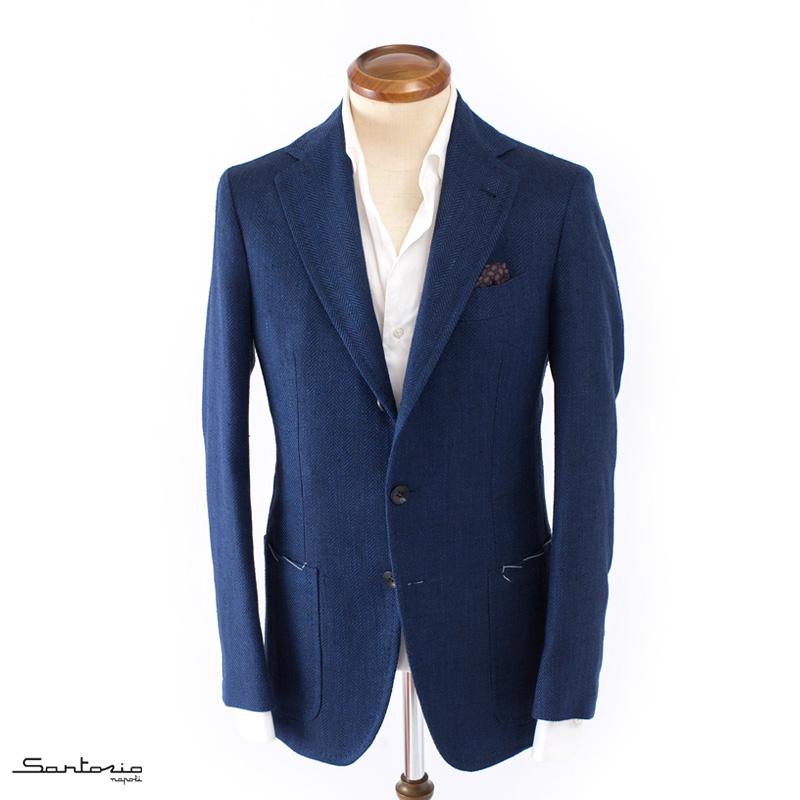 【 SALE40 】Sartorio 【サルトリオ】 シルクリネンジャケット ・mod. TA / R9 ・art. シルク×リネン×コットン ヘリンボーン ・col. blue navy (ブルーネイビー) ・made in Italy ・春夏 ・国内正規品
