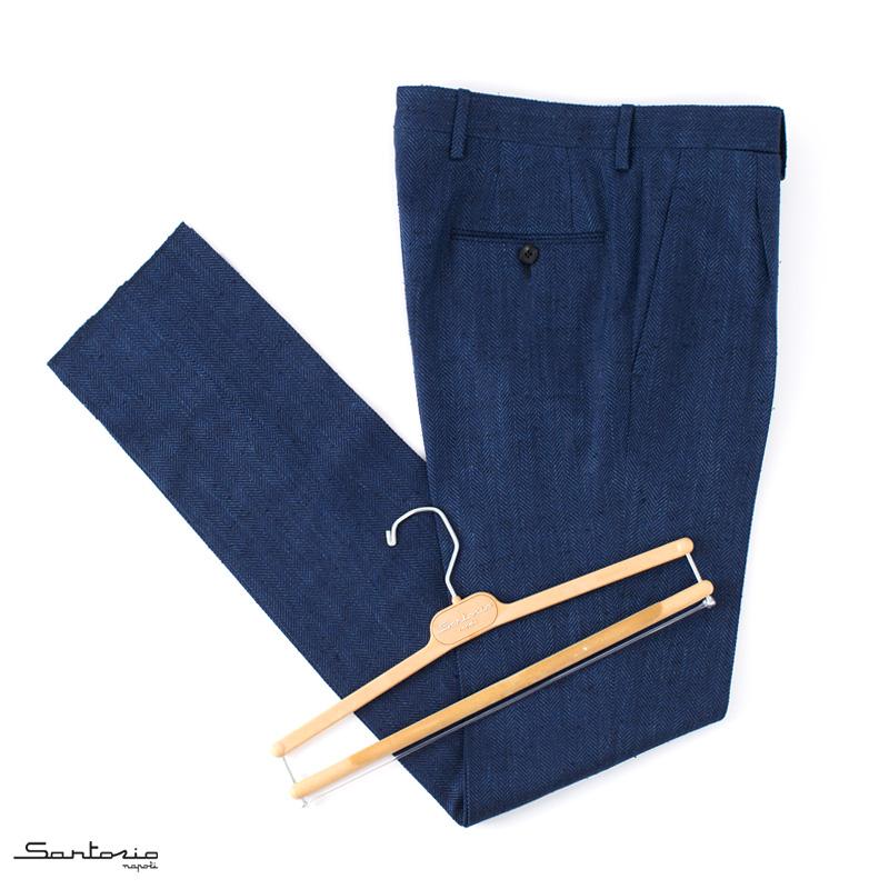 【 SALE40 】Sartorio 【サルトリオ】 1プリーツパンツ ・mod. Pantaloni / AP1 ・art. シルク×リネン×コットン ヘリンボーン ・col. blue navy (ブルーネイビー) ・made in Italy ・春夏 ・国内正規品