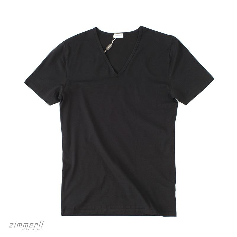 zimmerli 【ヅィメリー】 (Switzerland) 172 Pure Comfort Vネック Tシャツ ・art. 172-1462 ・col. black (ブラック) ・made in Switzerland スイス製 【国内正規品】