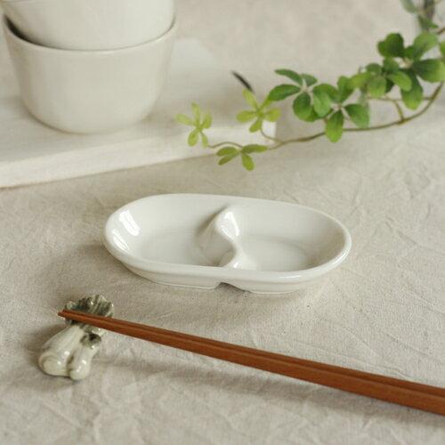【薬味皿】二つ仕切り 13.5cm (楕円)