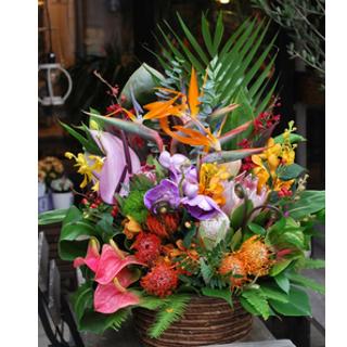 おまかせ!ハワイアンバスケットフラワーアレンジ20000 花 ギフト 誕生日 送料無料 アレンジメント フラワー ギフト お花 お祝い 開店祝い アレンジ あす楽 退職祝い 母 プレゼント