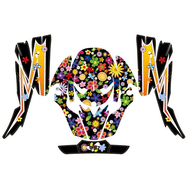 VFX-W ヘルメット デカール ポップな花柄/S/M/L カラフル ステッカー 傷防止 かわいい オフロード ショウエイ SHOEI モトクロス