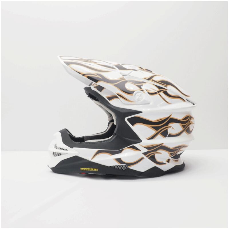 SHOEI VFX-WR MサイズLサイズ用 ヘルメット デカール 倉庫 ファイヤ― フレイム 激安 キット オリジナル ステッカー 白 傷防止 カスタム ショウエイ