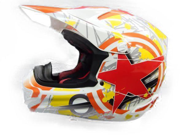 ARAIヘルメットV-CROSS4用 デカール TYPE-RedStar橙 保護にも ヘルメット ステッカー 傷防止 かっこいい オフロード アライ モトクロス カラフル デカールキット
