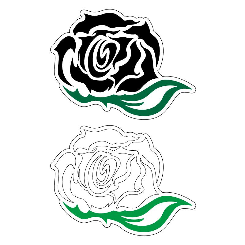 透明 小 黒 白 薔薇 葉っぱ付き トライバル風 ステッカー 1枚 年中無休 おしゃれ ワンポイント ドレスアップ カッティング 初心者 待望 カスタム