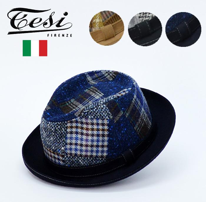 送料無料 中折れ 帽子 ハット【Tesi テシ】イタリア製 ウール100%パッチワーク 中折れハット/ハット 中折れ ハット メンズ 帽子