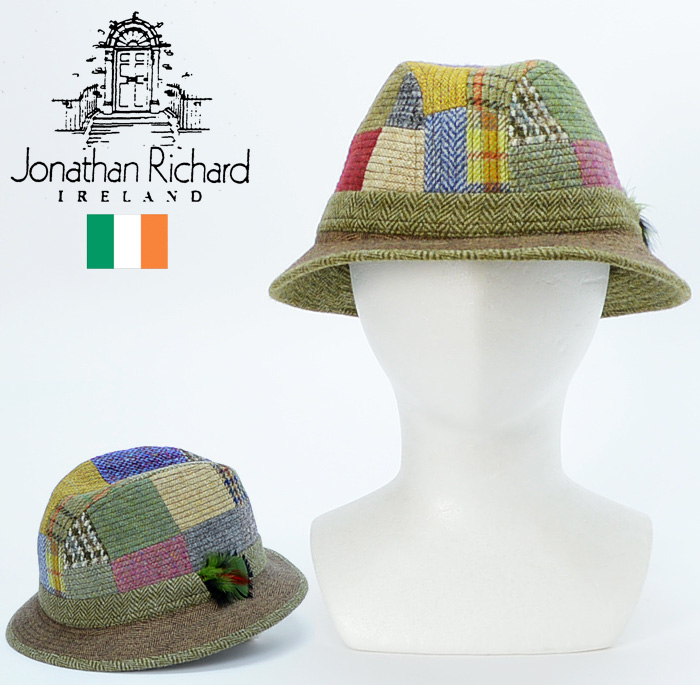 送料無料 【Jonathan Richard ジョナサンリチャード 中折れハット 帽子】アイルランド製 ウールツイードパッチワーク柄 中折れハット 帽子/メンズ 帽子 中折れハット 日本製 帽子