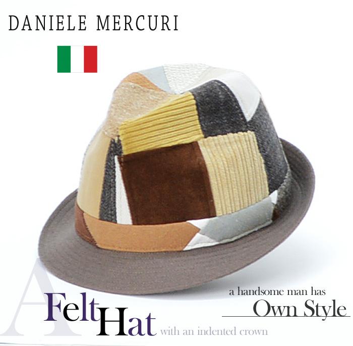 送料無料 中折れ 帽子 ハット【DANIELE MERCURI】イタリア製 パッチワーク 中折れハット/ハット 中折れ ハット メンズ 帽子