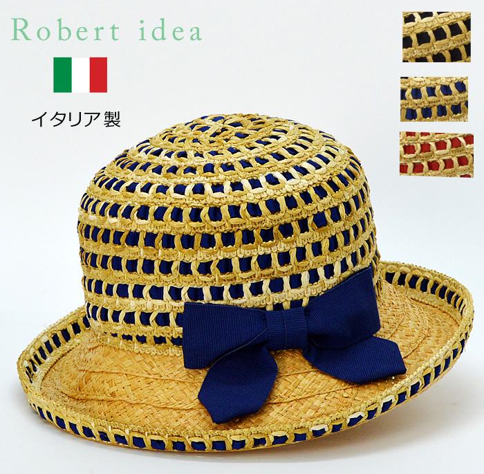 送料無料【Robertidea】ロベルト・イデア イタリア製 高級 つば広 リボン 麦わら帽子 ストローハット レディース カンカン帽