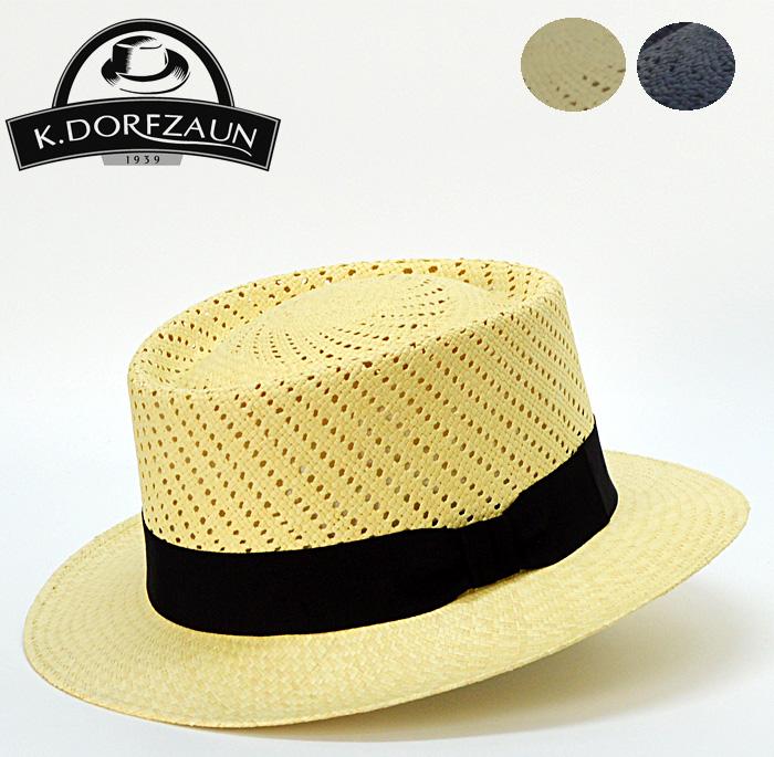 パナマ帽 麦わら帽子 送料無料【K.DORFZAUN】パナマ 中折れハット 麦わら帽子 ストローハット メンズ 帽子 通販 紳士帽子 おしゃれ 40代 50代 60代 ファッション 大きいサイズ ダンディ ポークパイハット 春 夏