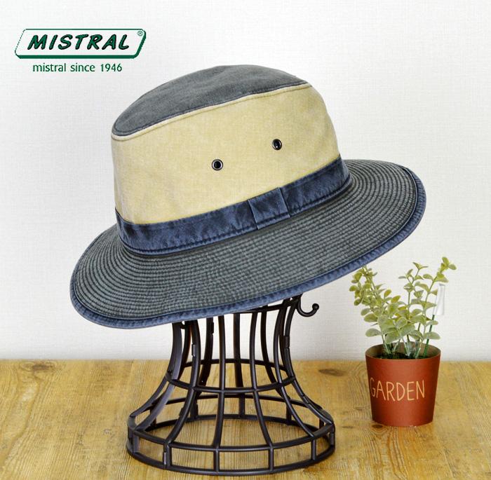 ミストラル 帽子 送料無料 フランス製【MISTRAL ミストラル】つば広 紫外線 UVカット防止加工 コットン マニッシュハット ハット メンズ 帽子 マニッシュハット 通販 紳士帽子 60代 70代 ファッション 春 夏 大きいサイズ