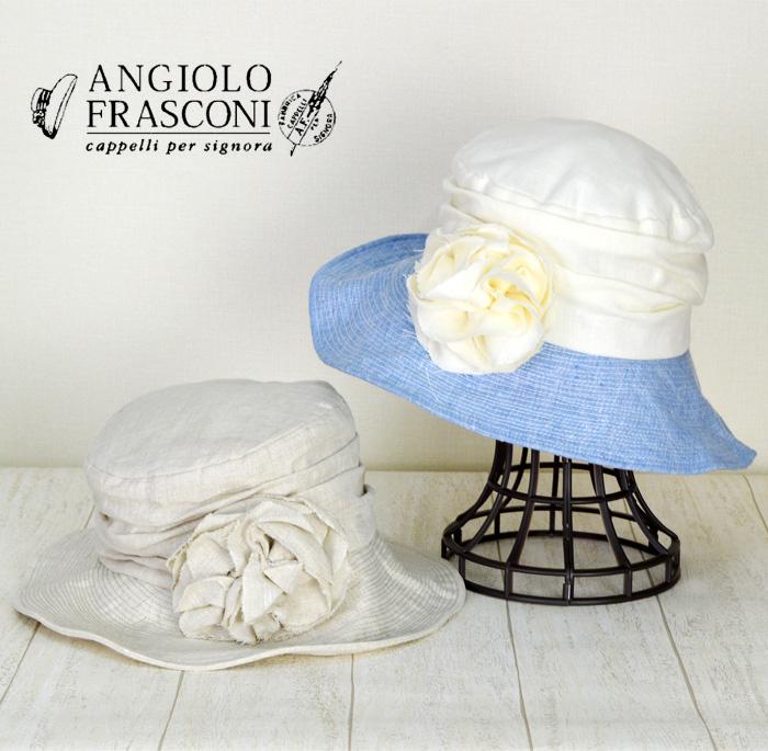 女優帽 【ANGIOLO FRASCONI】イタリア製 花付きつば広 麻 帽子 UV キャペリーン帽 レディース 帽子 春 夏
