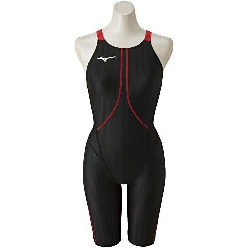 MIZUNO(ミズノ) 競泳水着 レース 大会用 レディース ストリームアクセラ ハーフスーツ FINA(国際水泳連盟)承認済 N2MG822396 ブラック×レッド サイズ:S