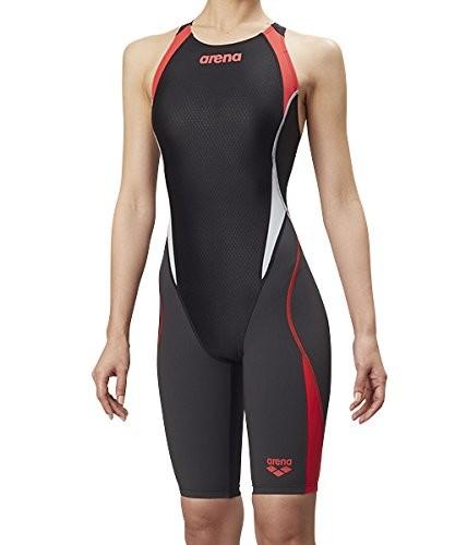 arena(アリーナ) トレーニング 競泳用 水着 ガールズ ジュニア セイフリーバックスパッツ 着やストラップ ARN-8080WJ BKRG(ブラック×グレイ×レッドR×Lグレイ) R140