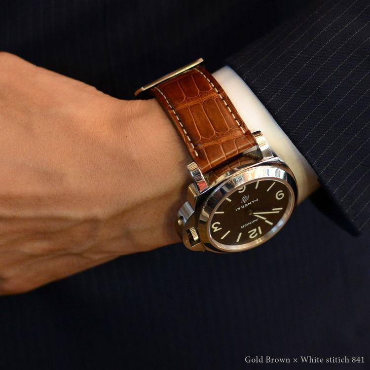Apple Watch パーツ付バンド アップルウォッチ 42mm用 バンド カシス製 腕時計ベルト TYPE PNR ALLIGATOR(タイプピーエヌアールアリゲーター) 裏面防水素材 時計ベルト Apple Watchサードパーティ| ベルト 防水 ウオッチ アップルウオッチ 時計バンド 革ベルト レザー