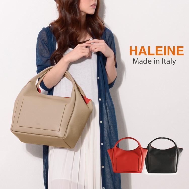 HALEINE [アレンヌ] 牛革 トート バッグ 大 ポーチ付 ハンドステッチ イタリア製 / レディース