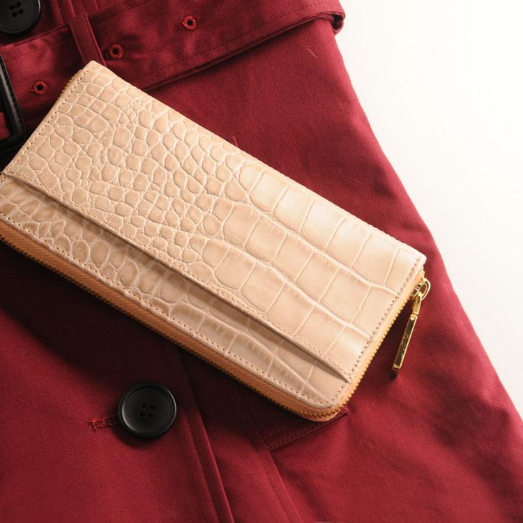クロコ 型押し 牛革 長財布 ゴールド ファスナー 真鍮 チャーム ピンク オーク ボルドー ダークブラウン ブラック