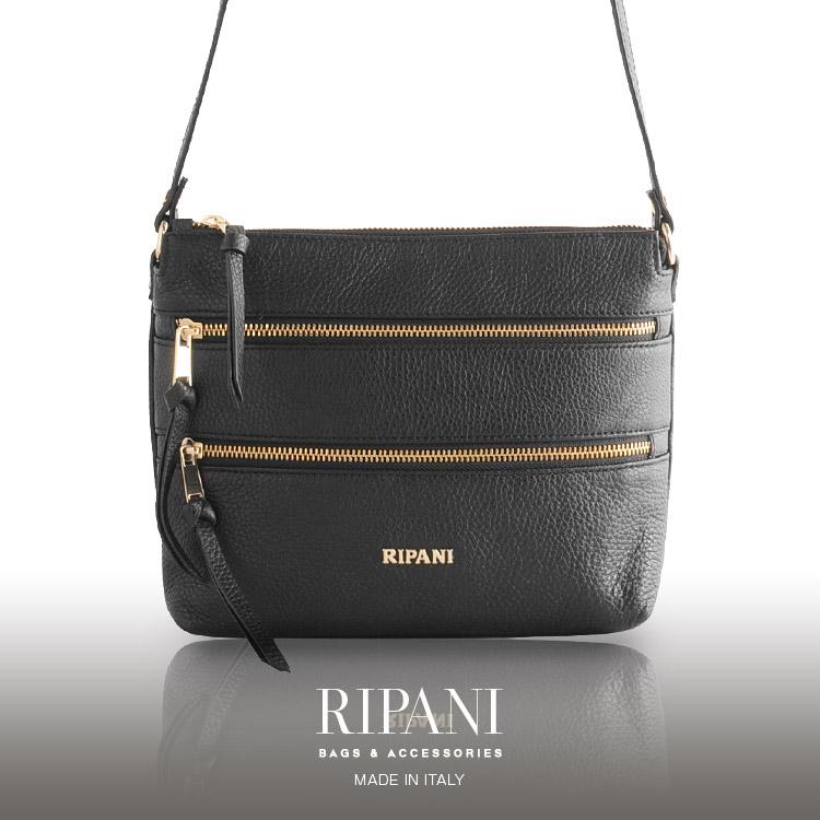 [RIPANI]リパーニ イタリア製 レザー 牛革 ショルダー バッグ 天ファスナー ゴールド金具 レディース ブラック