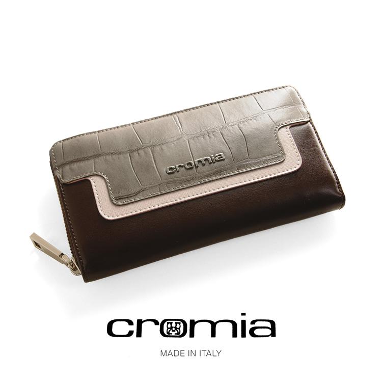 [cromia] クロミア 牛革 長財布 クロコダイル 型押し ラウンドファスナー イタリア製 レディース トープ/ブラック