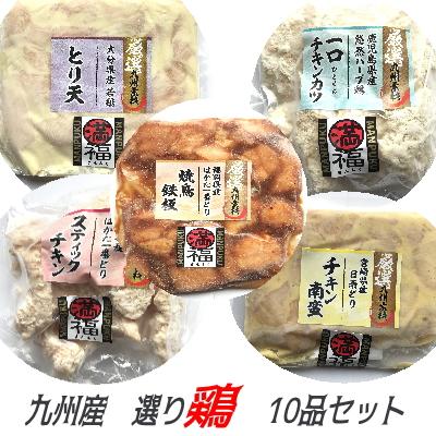 九州産 選り鶏 10品セット 送料無料 選り取り おすすめ お試し ギフト 贈答 焼鳥 チキン南蛮 とり天 チキンカツ スティック