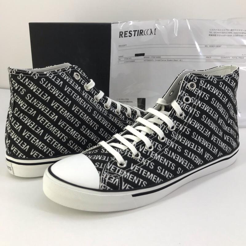 VETEMENTS 2018SS Printed canvas Sneaker ロゴ ハイカットスニーカー ブラック サイズ45【中古】