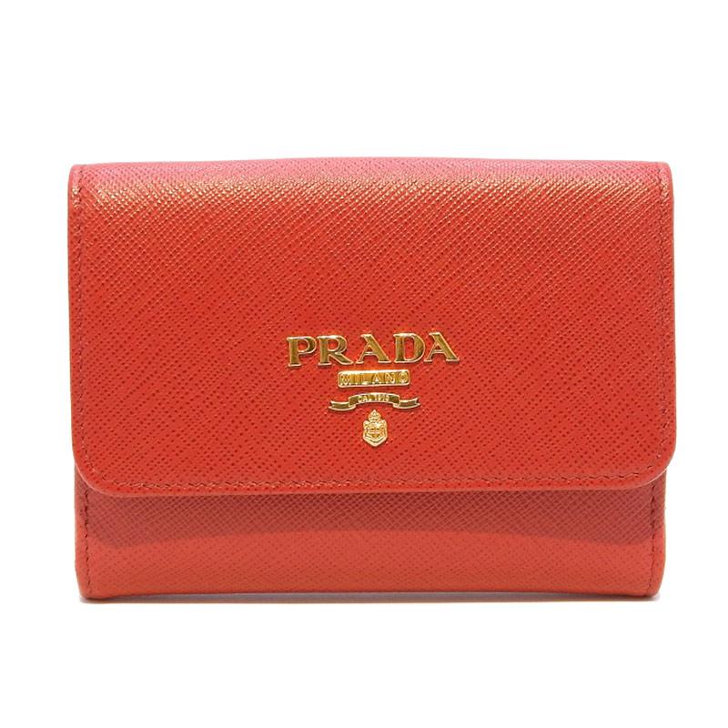 20190726 美品 人気ブランド プラダ PRADA サフィアーノ レッド 中古 出荷 レザー 赤 二つ折り財布