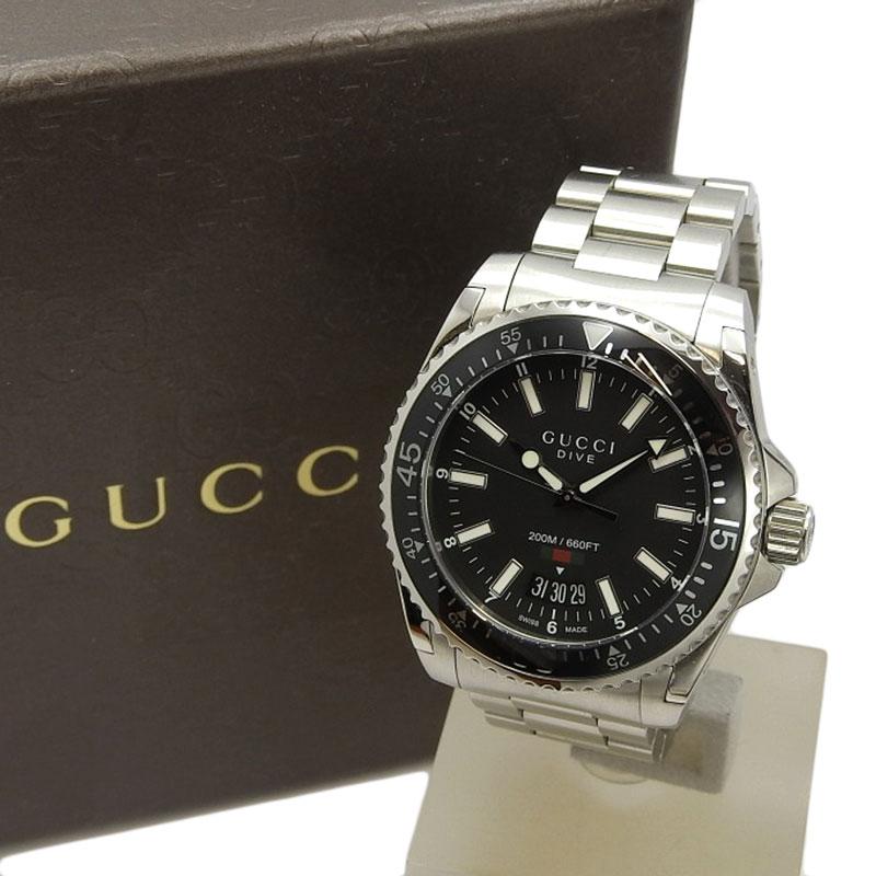 20210325 Gucci グッチ メンズ 人気ブランド クォーツ 腕時計 YA136301 中古 黒文字盤 予約