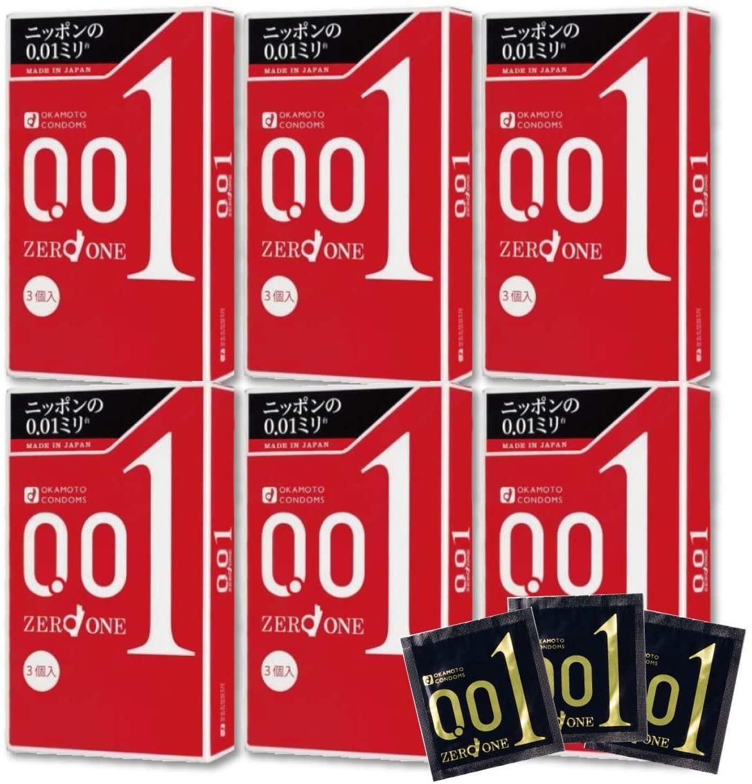 コンドーム オカモトゼロワン 0.01mm 日本製 オカモト 公式サイト ゼロワン 3個入 0.01 スタンダード 商品 6箱セット