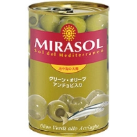 常温 期間限定で特別価格 ご予約品 ミラソル グリーンオリーブ アンチョビ入り 日欧商事 農産ビン詰 300G