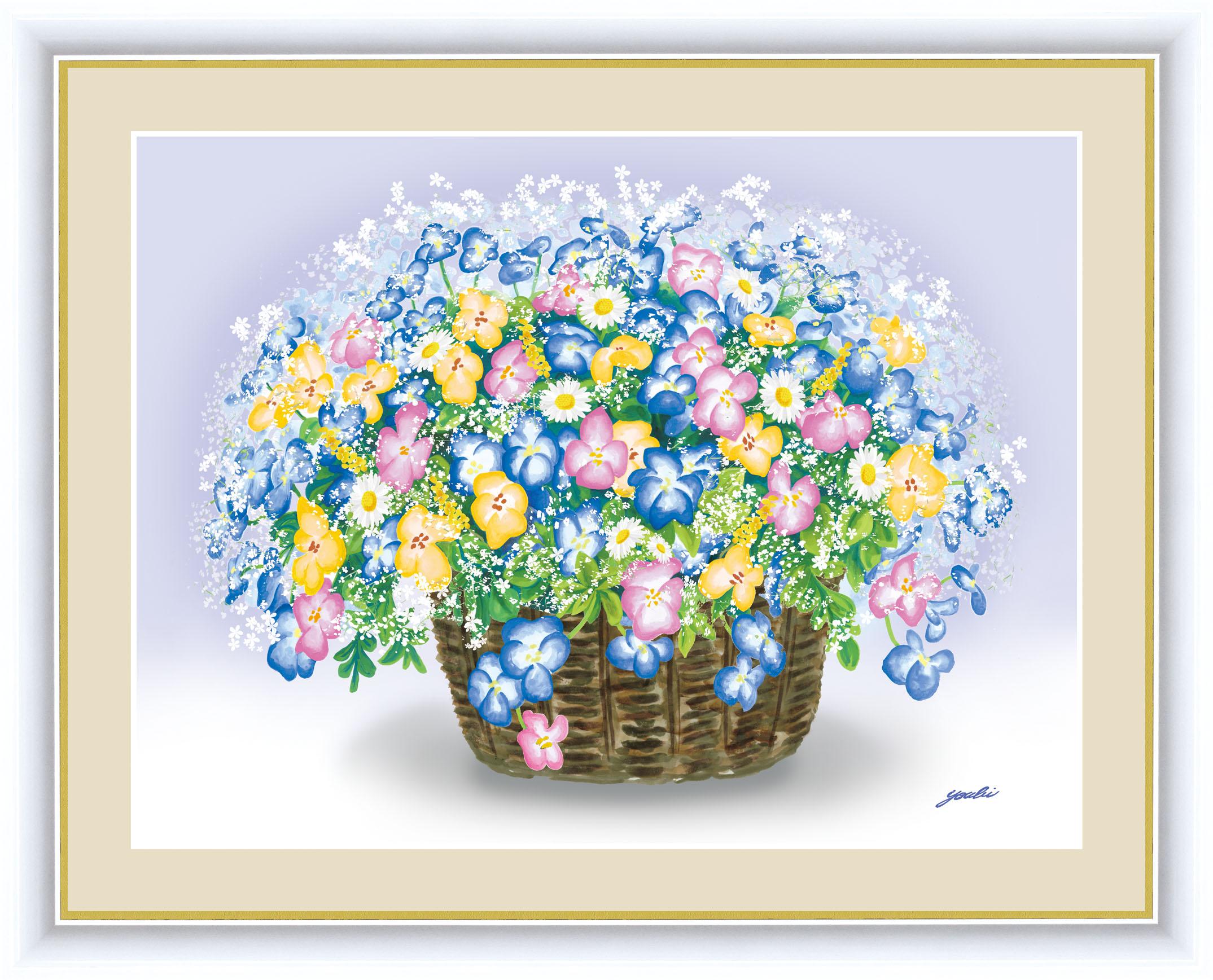 永遠に枯れることのない花の絵 鮮やかな色調がお部屋をパッと明るく彩ります 画面いっぱいに咲き誇る花たちが 新作 タイムセール 人気 いつまでもあふれんばかりの幸運を招き入れてくれることでしょう しあわせのブーケ 額 ビオラのブーケ 42×34cm 洋美 現代作家インテリアアート ようび F4サイズ G4-AB056 アート額絵 33227