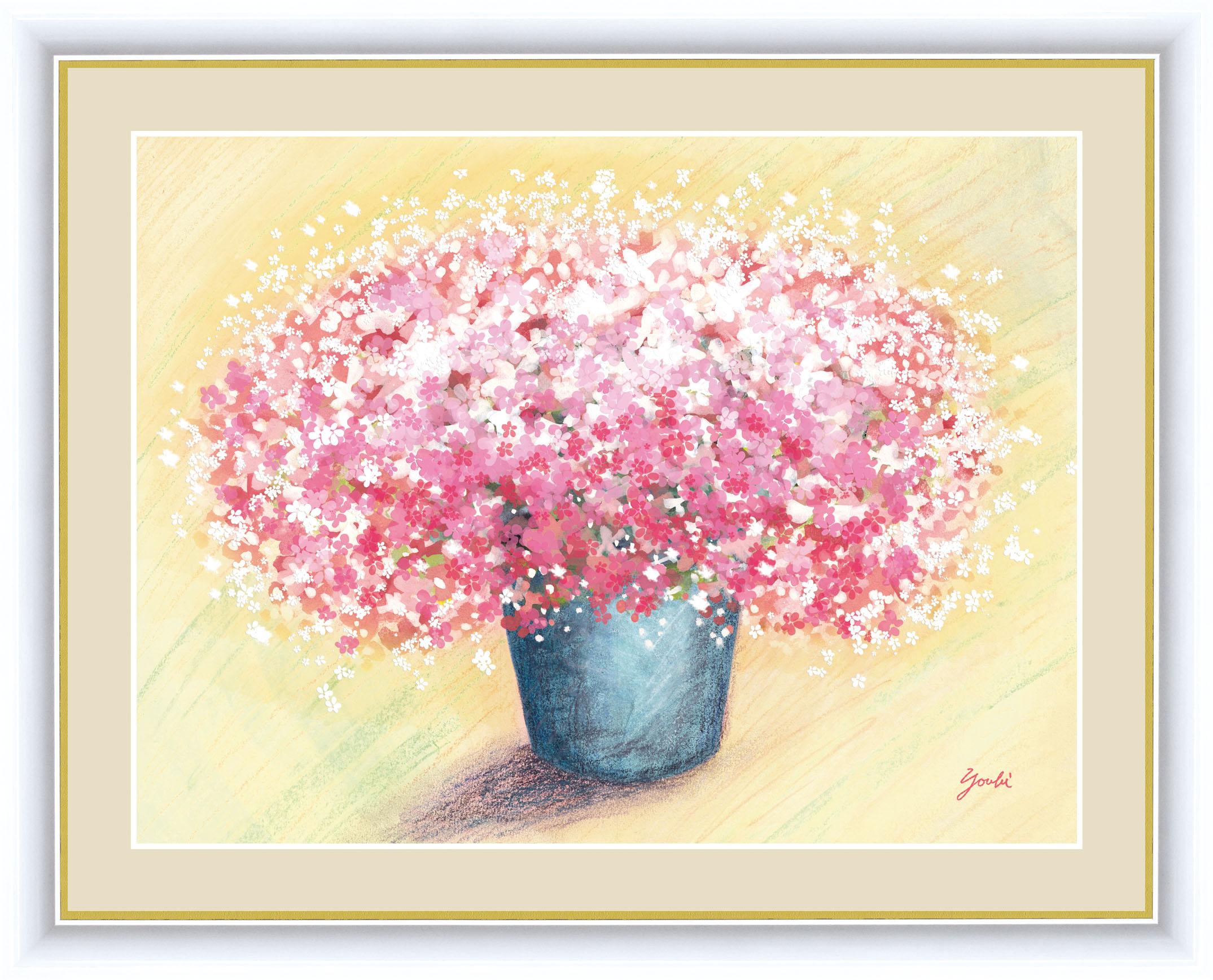 永遠に枯れることのない花の絵。鮮やかな色調がお部屋をパッと明るく彩ります。画面いっぱいに咲き誇る花たちが、いつまでもあふれんばかりの幸運を招き入れてくれることでしょう。 しあわせのブーケ 額 可愛いピンクのブーケ 42×34cm 洋美/ようび 現代作家インテリアアート アート額絵 G4-AB057 F4サイズ 33229