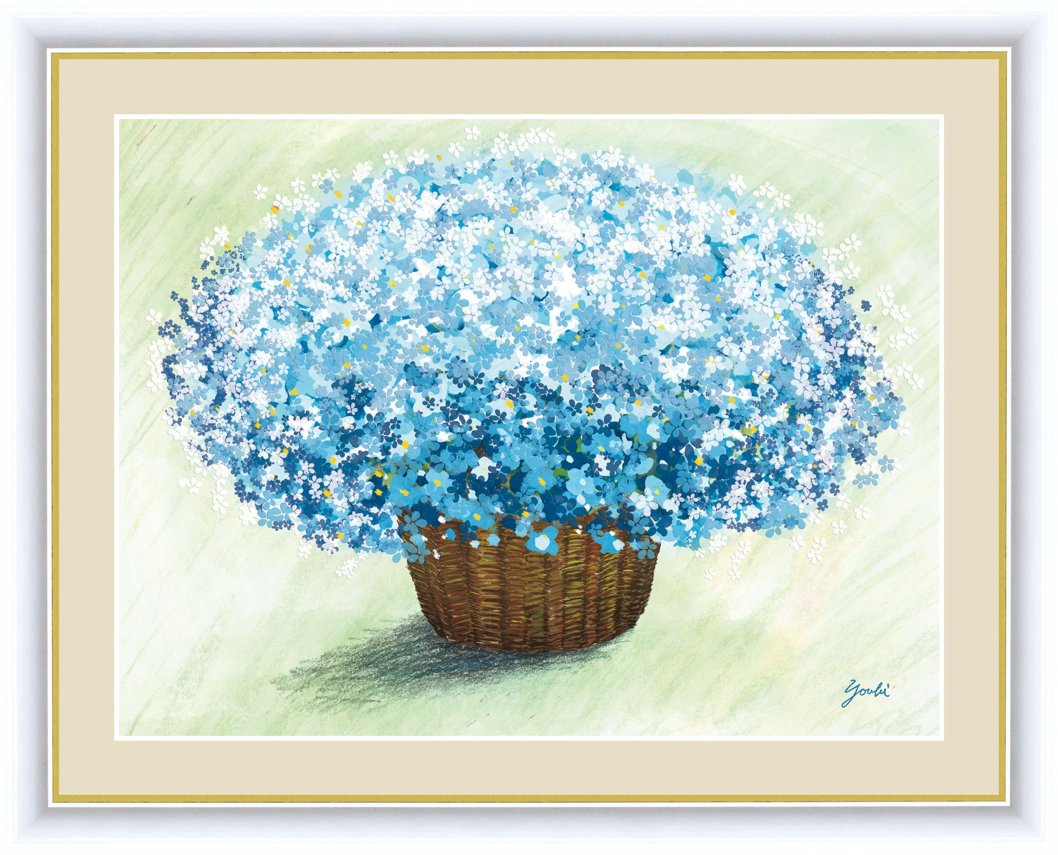 永遠に枯れることのない花の絵。鮮やかな色調がお部屋をパッと明るく彩ります。画面いっぱいに咲き誇る花たちが、いつまでもあふれんばかりの幸運を招き入れてくれることでしょう。 しあわせのブーケ 額 爽やかなブルーのブーケ 42×34cm 洋美/ようび 現代作家インテリアアート アート額絵 G4-AB058 F4サイズ 33231