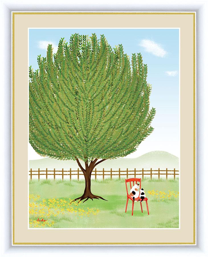 木をテーマに作品を描く彼女の作品は数多くのファンを魅了する。絶妙な色使いを巧みに操りその生き生きとした色彩は清々しさを与えひと時、夢の世界へ誘ってくれます。 大きな木の風景 額 月桂樹 42×34cm 鈴木 みこと/すずき みこと 現代作家インテリアアート アート額絵 G4-CM002 F4サイズ 33247