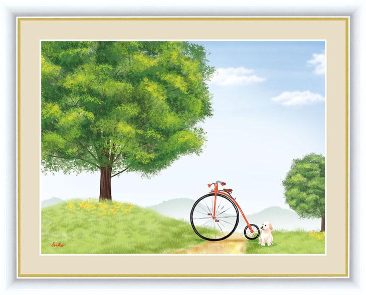 木をテーマに作品を描く彼女の作品は数多くのファンを魅了する。絶妙な色使いを巧みに操りその生き生きとした色彩は清々しさを与えひと時、夢の世界へ誘ってくれます。 大きな木の風景 額 けやきの木 42×34cm 鈴木 みこと/すずき みこと 現代作家インテリアアート アート額絵 G4-CM004 F4サイズ 33249
