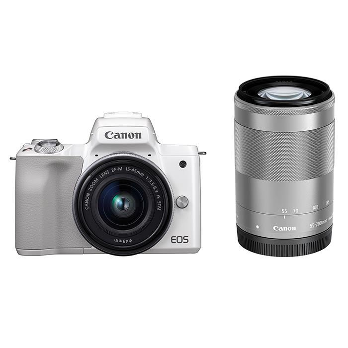 《新品》 Canon (キヤノン) EOS Kiss M ダブルズームキット ホワイト【¥10,000-キャッシュバック対象】[ ミラーレス一眼カメラ   デジタル一眼カメラ   デジタルカメラ ]【KK9N0D18P】