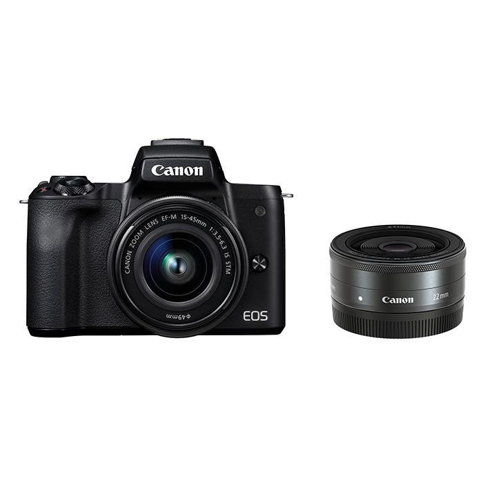 《新品》 Canon (キヤノン) EOS Kiss M ダブルレンズキット ブラック[ ミラーレス一眼カメラ | デジタル一眼カメラ | デジタルカメラ ]【KK9N0D18P】【¥5,000-キャッシュバック対象商品】