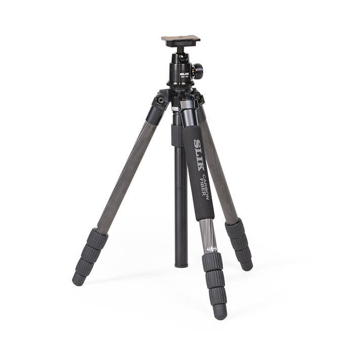 SLIK / 中型カーボン4段三脚 ]【KK9N0D18P】 ライトカーボン 《新品アクセサリー》 E84 【MapCamera購入特典!メーカー保証2年付き】[最大パイプ径: 5kg 28mm FA 最大耐荷重: (スリック)