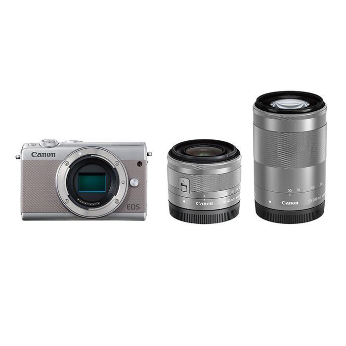《新品》 Canon (キヤノン) EOS M100 ダブルズームキット グレー [ ミラーレス一眼カメラ | デジタル一眼カメラ | デジタルカメラ ] 【KK9N0D18P】