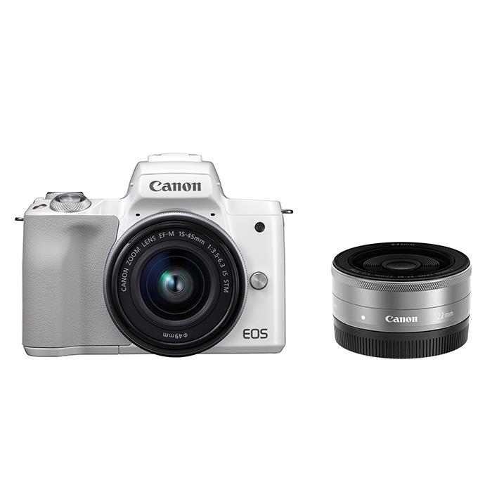 《新品》 Canon (キヤノン) EOS Kiss M ダブルレンズキット ホワイト【¥7,000-キャッシュバック対象】[ ミラーレス一眼カメラ | デジタル一眼カメラ | デジタルカメラ ]【KK9N0D18P】