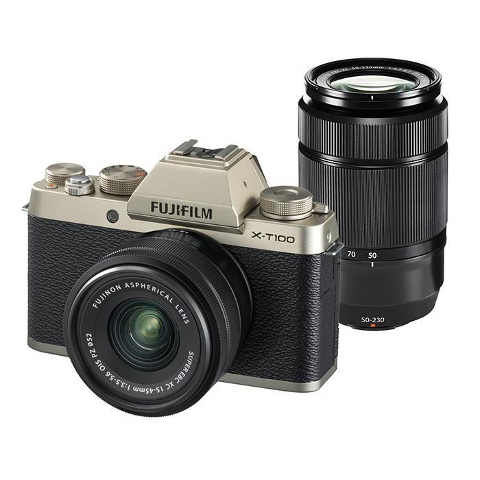 《新品》 FUJIFILM (フジフイルム) X-T100 ダブルレンズキット シャンパンゴールド[ ミラーレス一眼カメラ | デジタル一眼カメラ | デジタルカメラ ] 【¥10,000-キャッシュバック対象】【KK9N0D18P】