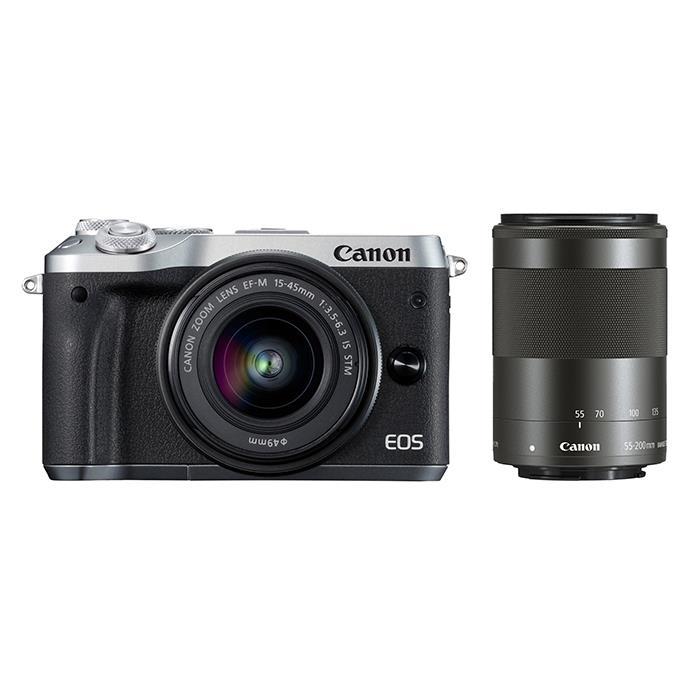 《新品》 Canon (キヤノン) EOS M6 ダブルズームキット シルバー[ ミラーレス一眼カメラ | デジタル一眼カメラ | デジタルカメラ ]【KK9N0D18P】