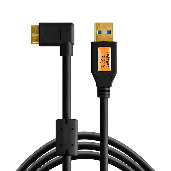 《新品アクセサリー》 Tethertools (テザーツール) TetherPro USB 3.0 SuperSpeed Micro-B Right Angle Cable (15ft/4.6m) CU61RT15-BLK ブラック【KK9N0D18P】