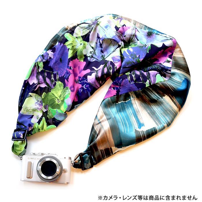 《新品アクセサリー》 Sakura Sling(サクラカメラスリング) サクラカメラスリング(ブラッシュストライプ&フラワー/サックス) SCS-L45 sizeL【KK9N0D18P】