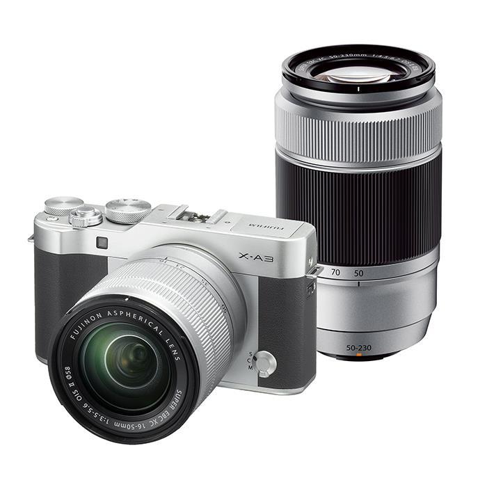 《新品》 FUJIFILM X-A3 (フジフイルム) ダブルズームレンズキット シルバー [ ミラーレス一眼カメラ | デジタル一眼カメラ | デジタルカメラ ] 【KK9N0D18P】