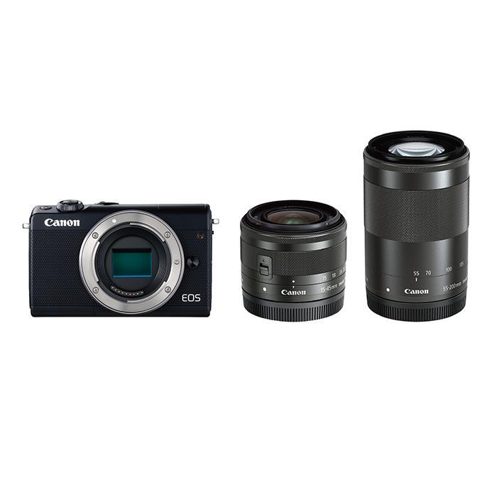 《新品》 Canon (キヤノン) EOS M100 ダブルズームキット ブラック[ ミラーレス一眼カメラ | デジタル一眼カメラ | デジタルカメラ ] 【KK9N0D18P】