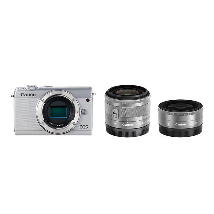 《新品》 Canon (キヤノン) EOS M100 ダブルレンズキット ホワイト [ ミラーレス一眼カメラ | デジタル一眼カメラ | デジタルカメラ ] 【KK9N0D18P】